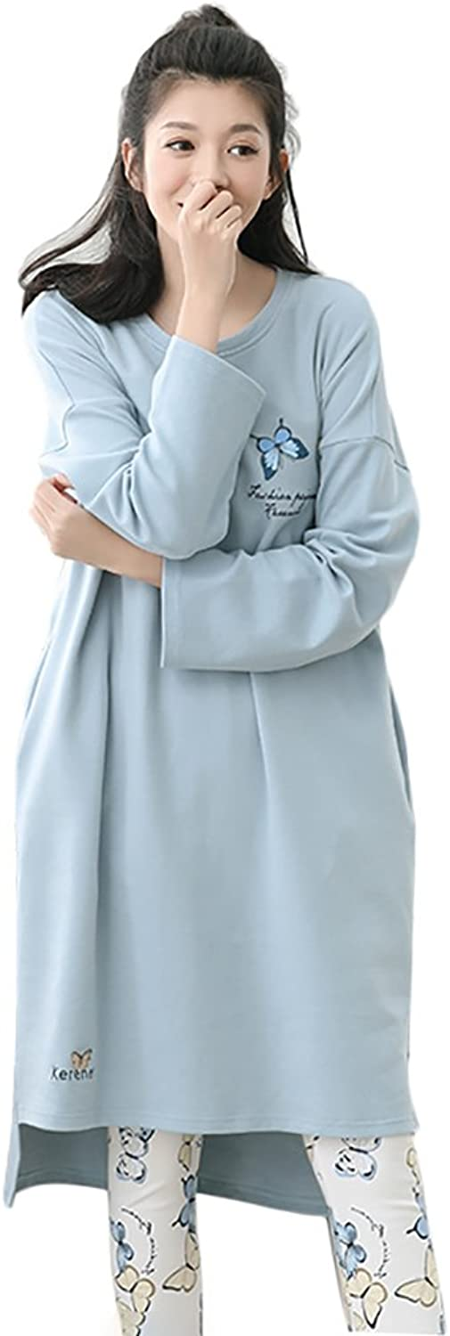 Women Long Sleeve Pure Cotton Soft Pajamas Loose Home Clothing Set Nightdress ( color   bluee , Size   L )