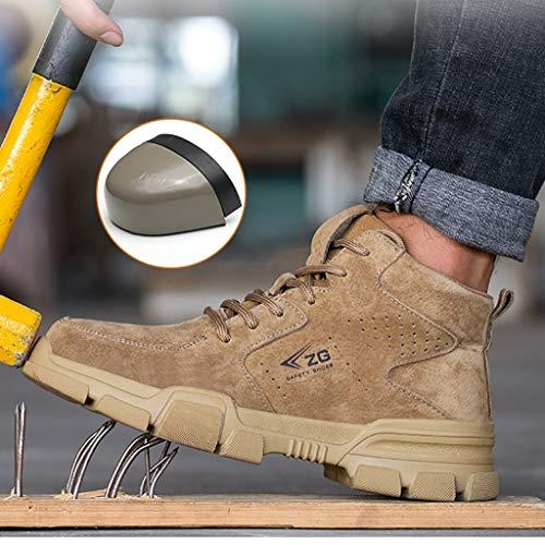 ZYFXZ Zapatos de Seguridad Hombres S3 Seguridad en el Trabajo Botas, Zapatos de Gamuza Resistente al Calor Ligero Soldador de protección, con Puntera de Acero Casquillo y Kevlar Botas de Trabajo