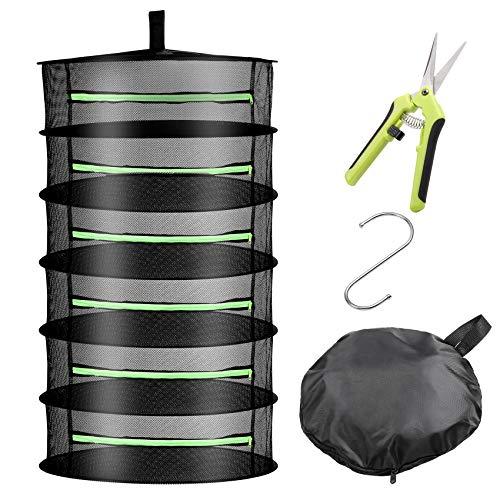 Uolor 6 Layer Black Mesh Kräutertrockner mit Reißverschluss Hängetrockner Trockennetz mit Astschere für Hydroponik, Haken & Karabiner