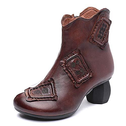DENGSHENG SHOPS Leder High Heel Stiefel Stitching Damen Stiefeletten Retro Zipper Wilder Herbst und Winter Damenschuhe