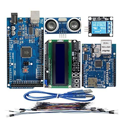 DTOYZ M e g a 2560 R3 Für Arduino-Kit + HC-SR04 + Breadboard-Kabel + Relaismodul + W5100 UNO Shield + LCD 1602 Tastaturschild