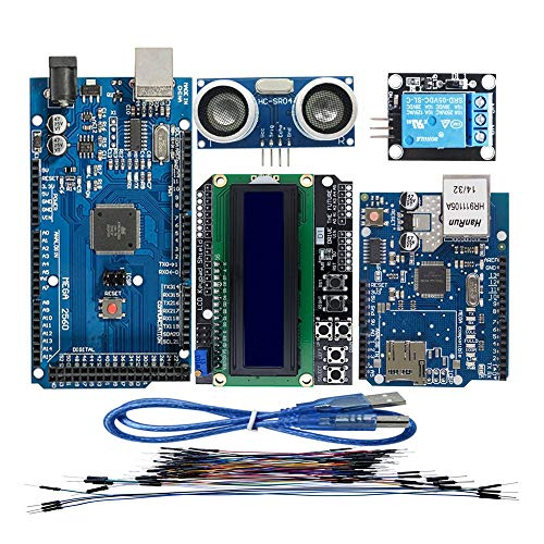 DTOYZ M e g a 2560 R3 para Arduino Kit + HC-SR04 + Breadboard Cable + Módulo De Relevo + W5100 UNO Shield + LCD 1602 Teclado Escudo
