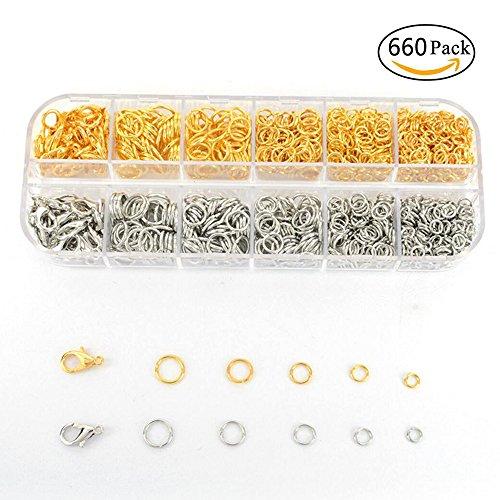 Amacoam sieraden accessoires, gereedschap, 660 stuks DIY sieraden knutselen accessoires sieraden maken met springringen karabijnsluiting voor armband halskettingen beginners DIY handgemaakte accessoires, goud- en zilver