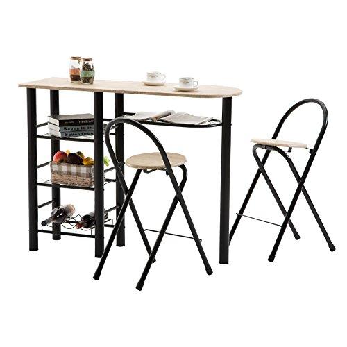 IDIMEX Bartisch Tresentisch Style Küchentisch Küchentheke mit Ablagen inklusive 2 Barhocker, Tischplatte Sonoma, Gestell schwarz lackiert