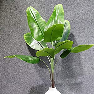 Ewer Artificial Plants Tropical Leaves Faux Banana Tree Fake Tropical Large Palm Tree Leaves Imitation Leaf Artificial Plants for Home Kitchen Wedding Party Flowers Arrangement