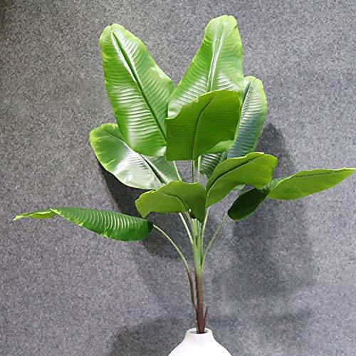 LAMF Plantas artificiales de hojas tropicales de imitación de plátano de imitación de hojas de palmera tropicales grandes, hojas de imitación para el hogar, cocina, boda, fiesta, arreglo de flores