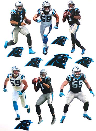 Carolina Panthers Mini FATHEAD Team Set 5 Players + Panthers Logo Set Official Vinyl Wall Graphics - Each Player 7' INCH
