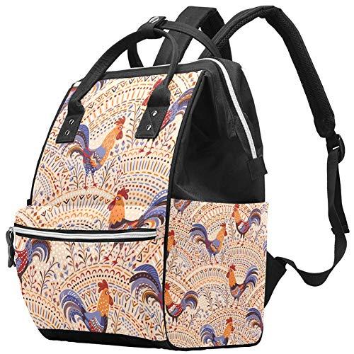 Sac à langer Mummy Sac à dos à langer Mignon Motif floral Coq Poulet Beige Multifonction Sac à dos de voyage pour les soins de bébé