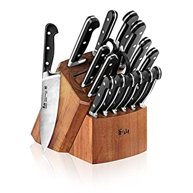 Cangshan V2 Series 1022551 German Steel Forged 17-Piece Knife Block Set, Acacia