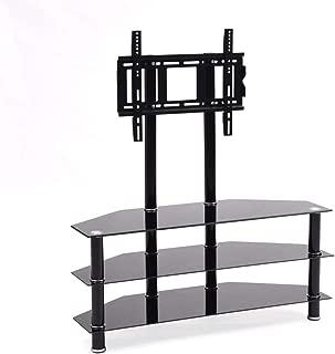 Hodedah Import Mount & Three Tempered Glass Shelves Tv Stand, Black