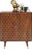 Kare - Aparador Muskat, Grande y Ancho con 3 cajones y 2 Puertas, Color marrón y Detalles en Dorado el la Parte Delantera