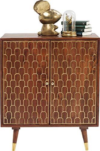 KARE Design - Credenza Muskat con 3 cassetti e 2 ante, ampia e grande, marrone con accenti dorati sulla parte anteriore, Comodino piccolo