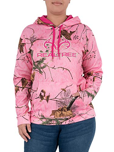 Realtree Women's Performance Logo Pullover Hooded Sweatshirt, Medium, Realtree Pink