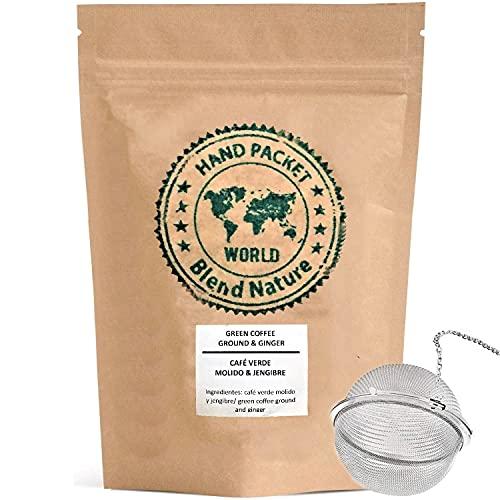 Café Verde en Grano Cortado para Infusión 100% Natural con Jengibre 500 g - Arabica Colombia – Regalo Bola Colador Infusora de Acero Inoxidable