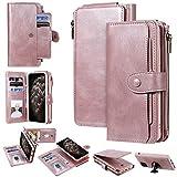 Miagon Coque Portefeuille pour iPhone 11,Détachable Flip Cover Étui avec Porte Monnaie Fente pour Multiples Bourse Carte Housse de Protection,Or rose