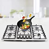 CNCEST 33.8' Gas Stove 5 Burner Stainless Steel Gas Stove Kitchen Gas stove NG/liquefied Petroleum Gas Built-in Stove Countertop Stove