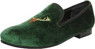 Bareskin Deer Head Design Embroidery Green Italian Cotton Velvet Slip-on Shoes for Men