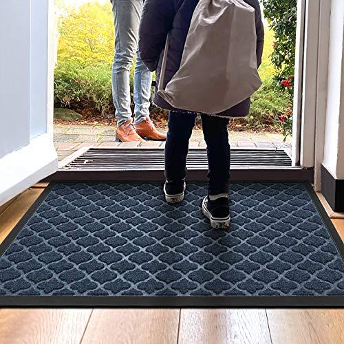 """DEXI Door Mat Front Indoor Outdoor Doormat,Small Heavy Duty Rubber Outside Floor Rug for Entryway Patio Waterproof Low-Profile,17""""x29"""",Navy Blue"""