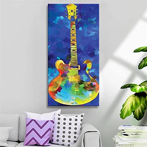 5D DIY Adulto Niños Talla Grande Pintura de Diamante Kit Guitarra de color Diamond Painting Full Drill Rhinestone Bordado Punto de Cruz Arte para Decoración de la Pared del Hogar Round Drill 3