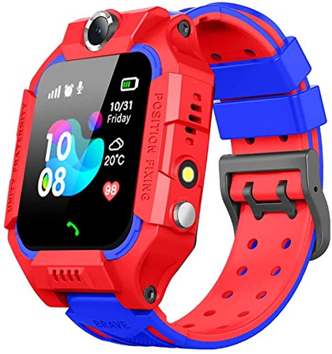 IP67 Waterproof Smart Watch for Kids, GPS Tracker Watch with SOS Alarm Clock Game Touch Screen Digital Wrist Smartwatch for Girls Boys Children Holiday Birthday Toys Gifts (Red)
