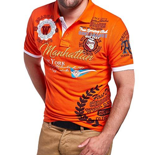 Herren Poloshirt Polo Polohemd Kurzarmshirt Besticken Basic Shirt, T Shirts Männer Coole Print Sweatshirt Slim Fit (Orange, XXXL)