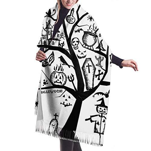 YANAIX Damen Herbst klassischer Winterschal, skizzenhafter gruseliger Baum mit gruseligen Designobjekten und bösem Hexenbesen abstrakt, Schal warme weiche klobige große Decke Wickelschals