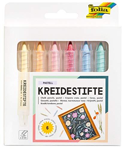 folia 370619 - Kreidestifte Set Pastell, 6 Kreidemarker sortiert in 6 verschiedenen Farben, zum Malen auf Tafel, Glas, Papier und anderen glatten Oberflächen