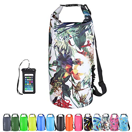 OMGear Waterproof Dry Bag Backpack Waterproof Phone Pouch 40L/30L/20L/10L/5L Floating Dry Sack for Kayaking Boating Sailing Canoeing Rafting Hiking Camping Outdoors Activities (camouflage1, 10L)