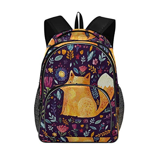 Kid's Backpacks Rucksack Student School Book Bags for Girl, Flower Fox