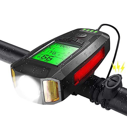 Luz De Bicicleta LIXUE con Velocímetro, Campana De Bicicleta Ruidosa, Recargable por USB, Impermeable, 5 Modos De Iluminación para Todos Los Desplazamientos En Bicicleta Y Ciclismo De Carretera