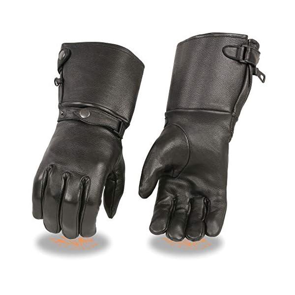 Milwaukee Leather SH857 Men's Black Deerskin Thermal Lined Gauntlet Gloves – Large