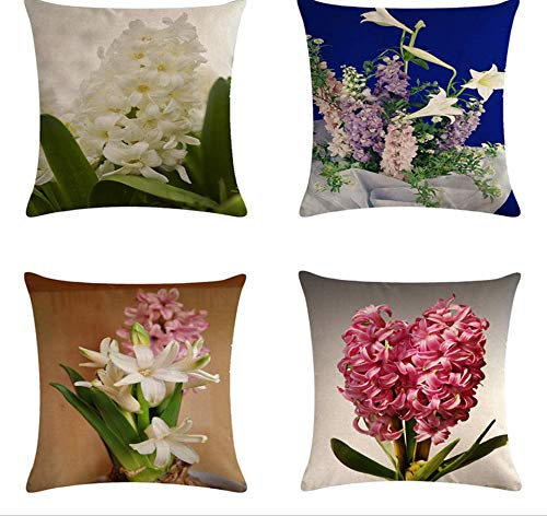 JgZATOA Cushion Cover White Flower Living Room Sofa Pillow Cases Bed Pillow Case Office Cushion 45 X 45Cm Set Of 4