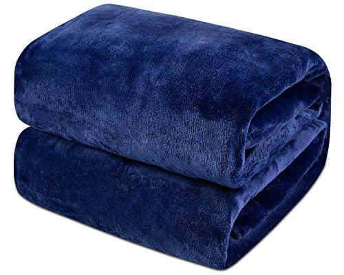 Mantas de Franela 150x200cm Súper Suaves Esponjosas para El Sofá Cama Colcha de Microfibra,tamaño Doble/Matrimonio, Azul Marino