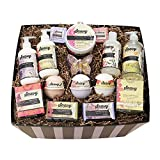 Saavy Naturals Ultimate Spa Gift Baskets for Women and Men | Gluten-Free and Vegan | Lush 15 Piece Relaxing Handmade Bath Products for Home Spa with Body Cream, Bath Bombs, Soaps, and More