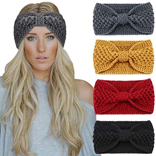 Preisvergleich Produktbild DRESHOW 4 Stück Stirnband Damen Winter Häkeln Stirnbänder Gestrickt Stirnband Kopfband Haarband Elastische Haarreife Ohr Wärmer