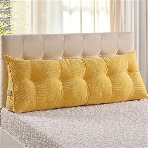 XJRHB Dreieckskissen Bedside Large Rückenkissen Sofakissen Kissen, 10 Farben, 6 Größen erhältlich (Color : Yellow, Size : 150 x 22 x 50 cm)