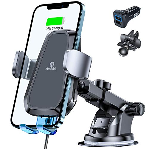 andobil Car Phone Holder Mount Charger [with QC 3.0 Charger], Qi Safer Fast Wireless Car Charger Mount Auto Clamping Compatible iPhone 12 Pro Max/12 Pro/11/SE/X/Xr/8, Samsung S20/S10/S9, Note 20/10