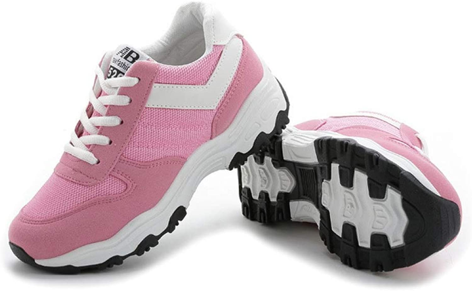 T-JULY Women's Sport shoes Ladies Fashion Lace up Thick Sole Casual Leisure shoes Girl Mesh Breathable Fabric Shallow shoes