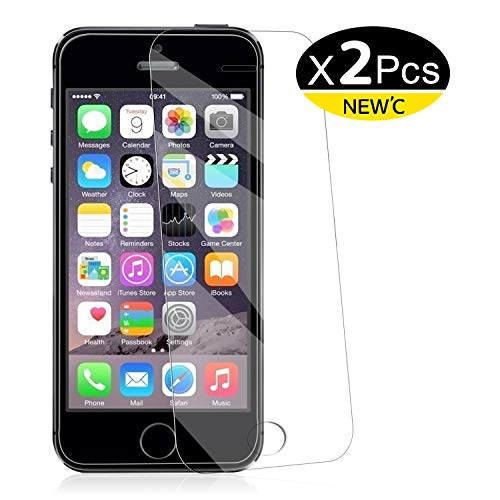 NEW'C PanzerglasFolie Schutzfolie für iPhone 5s, 5, SE, 5C, [2 Stück] Frei von Kratzern Fingabdrücken und Öl, HD Displayschutzfolie, DisplayschutzfolieiPhone 5s,5,SE,5C