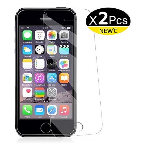 NEW'C 2 Unidades, Protector de Pantalla para iPhone 5, iPhone 5S, iPhone 5C Vidrio Templado
