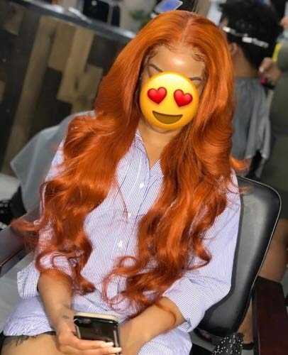 """Orange Body Wave Lace Front Human Hair Wig With Baby Hair Preplucked Brazilian Remy Virgin Lace Front Wig For Women (16"""")"""