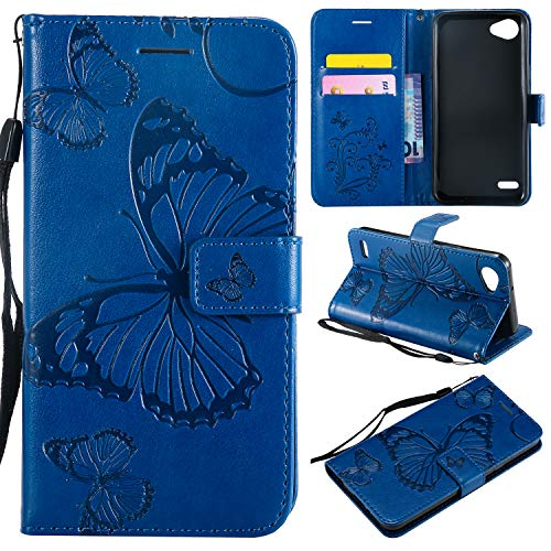 ViViKaya Handyhülle für LG Q6,Schlanke Leder Schmetterling Brieftasche hülle Flip Folio Handytasche für LG Q6 [Blau]