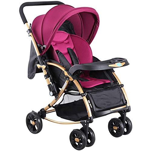 GFHJ1201 Cochecito De Bebé, Cochecito De Bebé Reversible con Respaldo Ajustable, Cochecito De Bebé De Alta Visibilidad, Cochecito De Bebé Plegable Antichoque con Cesta Grande
