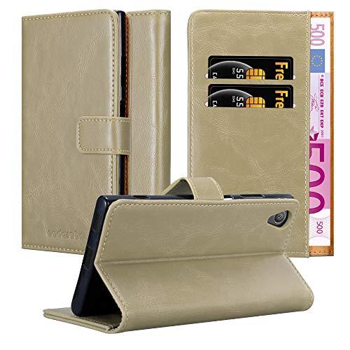 Cadorabo Hülle für Sony Xperia XA1 Plus - Hülle in Cappucino BRAUN – Handyhülle im Luxury Design mit Kartenfach & Standfunktion - Hülle Cover Schutzhülle Etui Tasche Book