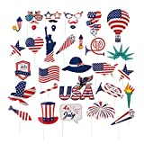 SUNBEAUTY USA Foto Requisiten 34-er Photo Booth Props 4th of July American Independence Day Party Decorations Amerika Partyzubehör