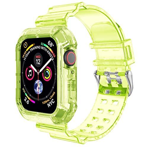 NotoCity Cinturino Compatibile con Apple Watch SE, Apple Watch Serie 6/5/4/3/2/1 42mm/44mm Replacement Cinturino TPU,Creativo,Trasparente (Giallo Verde)