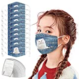 DealinM 10PC Children's Reusable Washable Cotton Face Bandanas Animal Dog Cat Prints Face 𝑴𝒂𝒔𝒌 with 20PC Replacement Filters