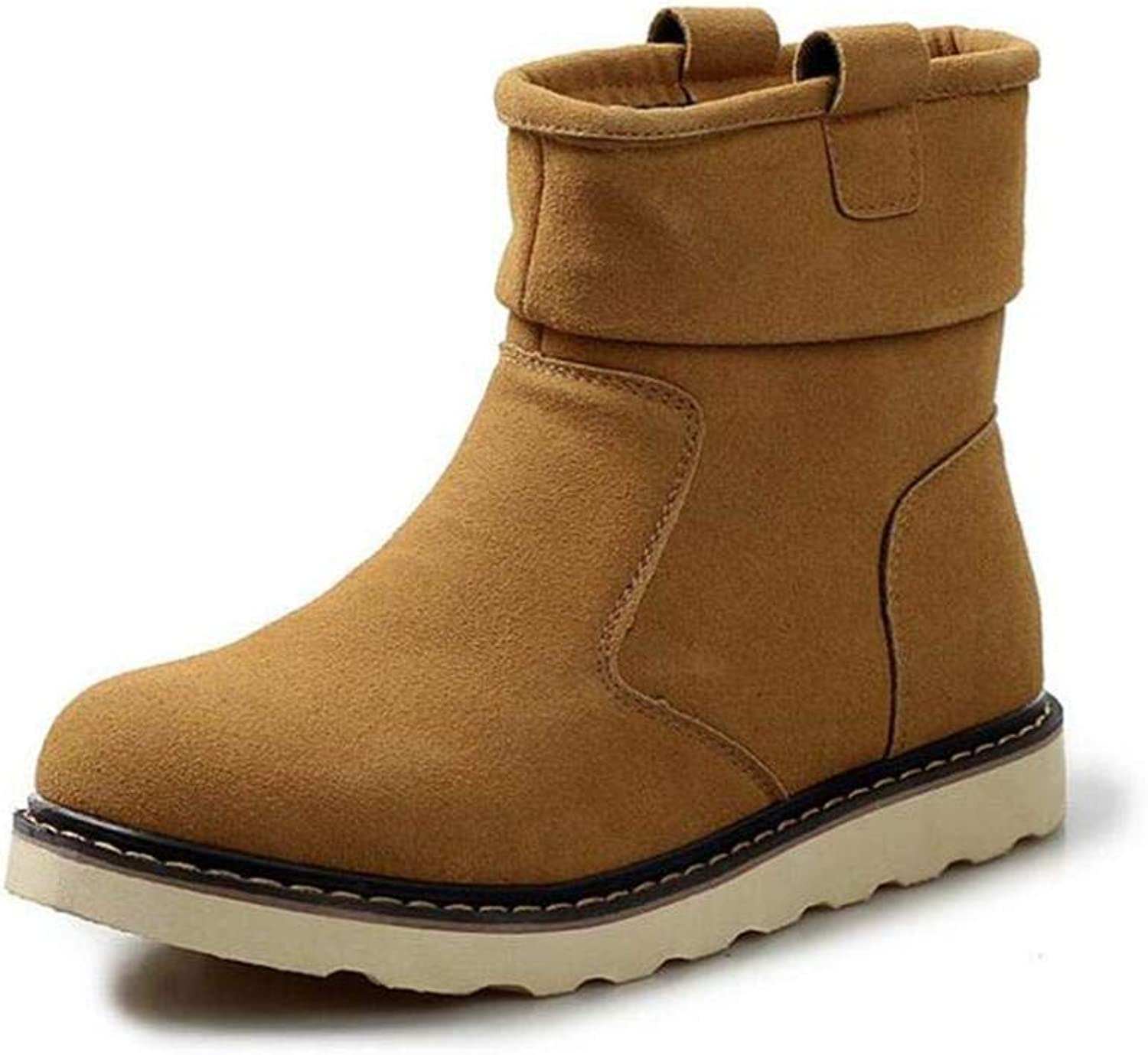 H&H Men's Snow Boots, Winter Mill Sand Plus Cashmere Warm Windproof Winter Boots, Formal shoes, Martins Boots