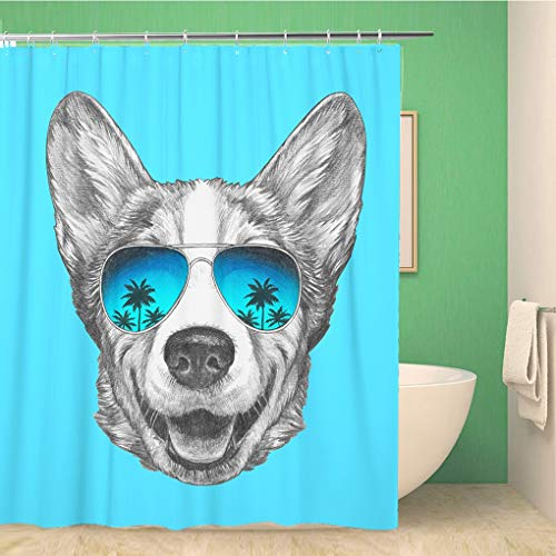 Awowee Bathroom Shower Curtain Animal Portrait of Pembroke Welsh Corgi with Mirrored Sunglasses Illustration Polyester Fabric 60x72 inches Waterproof Bath Curtain Set with Hooks