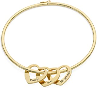 Personalized Bracelet Bangle with Heart Pendants - Custom Made Multiple Pendant Jewelry Women Christmas Gift